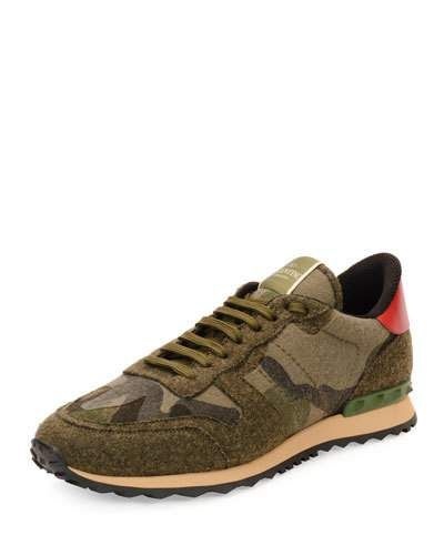 Valentino+Felt+Camo+Print+Trainer+Sneakers+Green+|+Shoes+and+Footwear