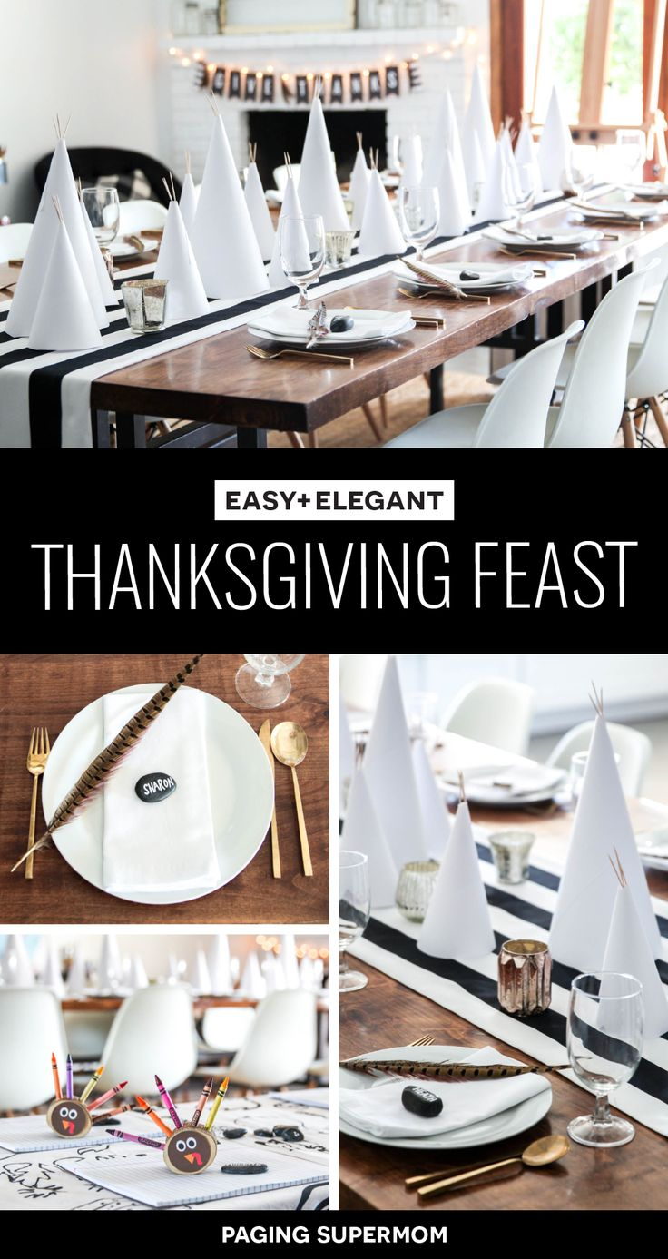 """Simple and Elegant Thanksgiving Table Ideas - love the easy paper teepees and FREE printable """"Give Thanks"""" banner from @PagingSupermom"""