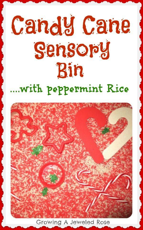 Candy cane sensory bin with peppermint sensory rice