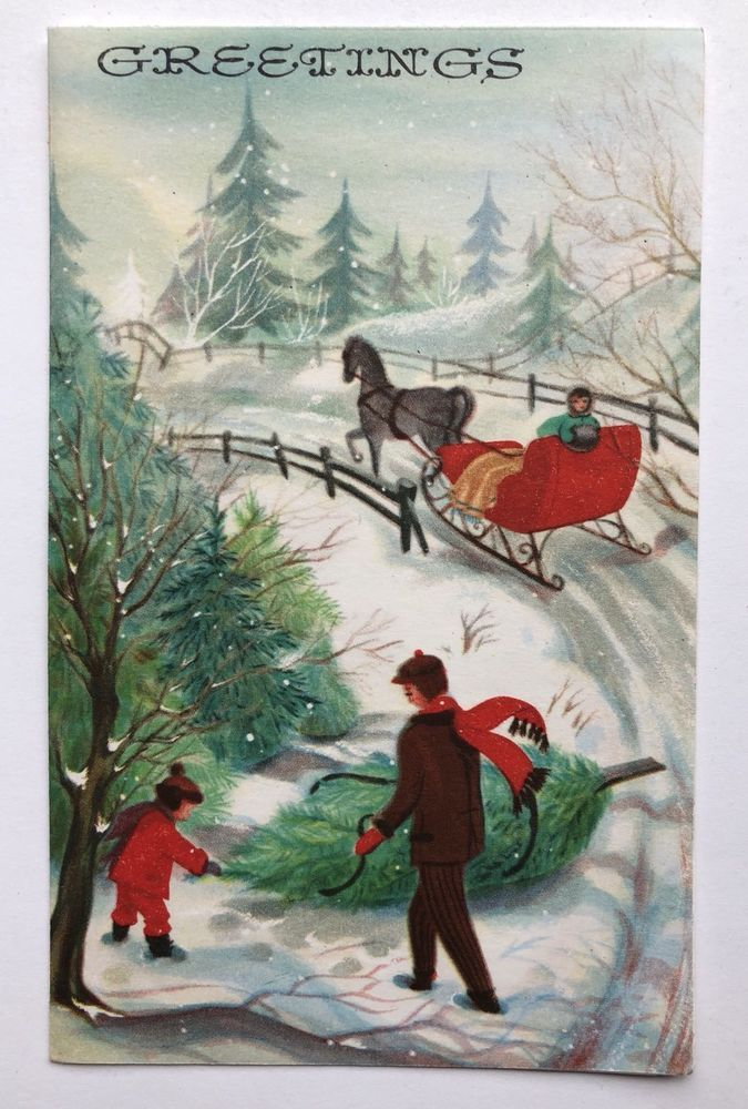 Vintage Greeting Card People Child Girl Sleigh Horse Christmas Tree ...