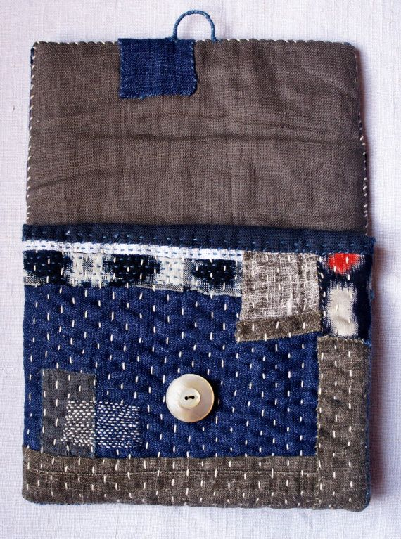 treasury : pouch/purse/wallet in linen and vintage от lesamovar