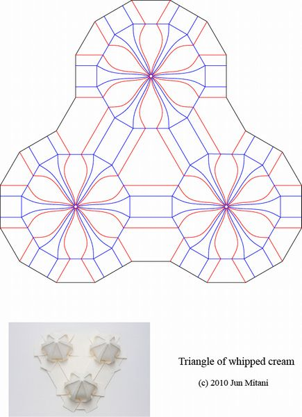 Crease Pattern of the Triangle of whipped cream - Computered aided origami by Jun Mitani