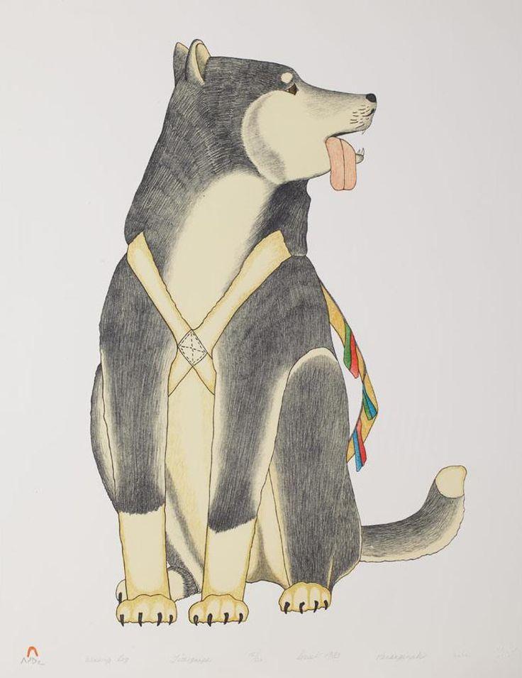 Kananginak Pootoogook (b.1935-d. 2010) Working Dog 20 x 26 lithograph of 50 (1983)