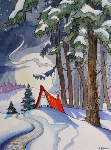 "Daily Paintworks - ""Coming Home by a Winter Moon Storybook Cottage Series"" - Original Fine Art for Sale - © Alida Akers"