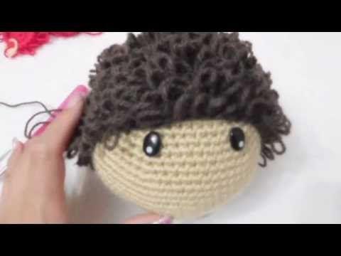 Muñeca Amigurumi colocar cabello chino a crochet (ZURDO) Video 3 - YouTube