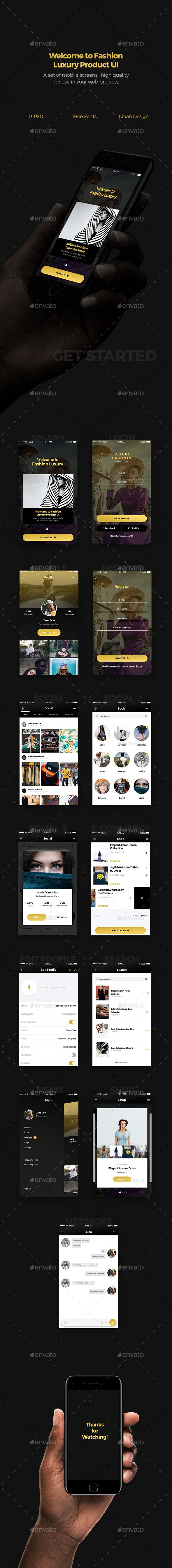 Fashion Luxury Product Mobile UI UIX Design Template - User Interfaces Web Elements Design Template PSD. Download here: https://graphicriver.net/item/fashion-luxury-product-mobile-ui/19046038?ref=yinkira