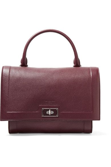 Givenchy - Small Shark Bag In Burgundy Textured-leather - one size