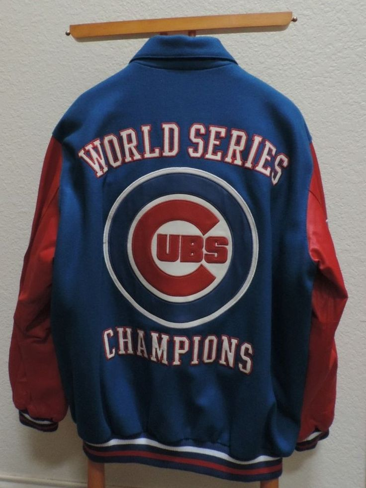 Chicago Cubs Jacket Leather Wool XL Letterman World Series 2016 Champs G III #GIII #Jacket