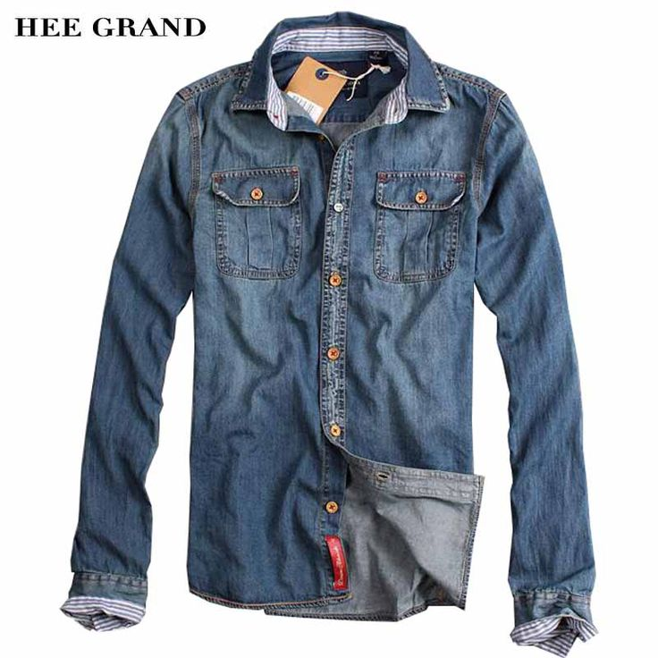 >> Click to Buy << HEE GRAND Men Casual Denim Shirts Stylish Turn-down Collar Full Sleeve Single Breasted Cotton Durable Autumn Shirt MCL708 #Affiliate