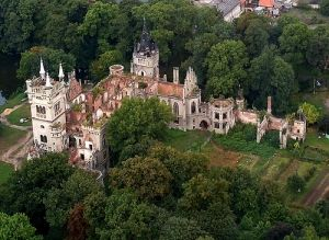Kopice Castle Ruins in Poland, aerial of this abandoned chateau.