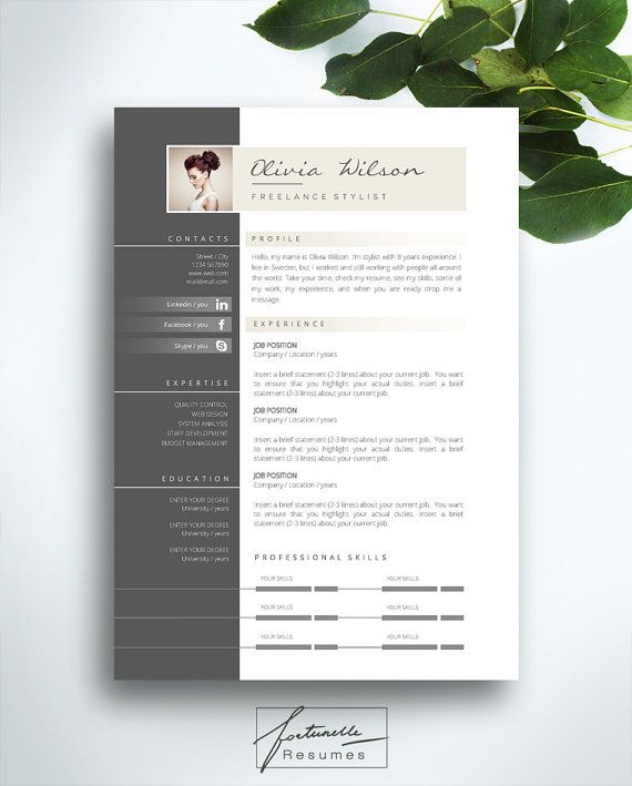 "Resume Template 2 page / CV Template + Cover Letter / Instant Download for MS Word / ""Olivia"""