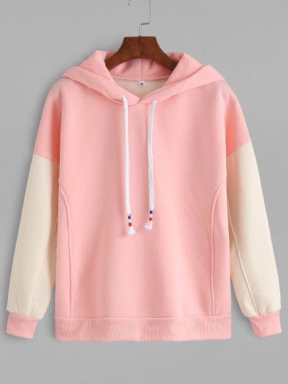 Sudadera manga en contraste con capucha - rosa