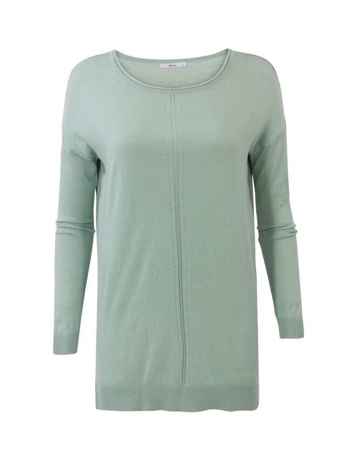 Groene trui met lange mouwen en een ronde hals. #missetam