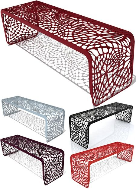 """Laser cut bench from Arktura. Love love love. I can't find a place for it since it's 49"""" long."""
