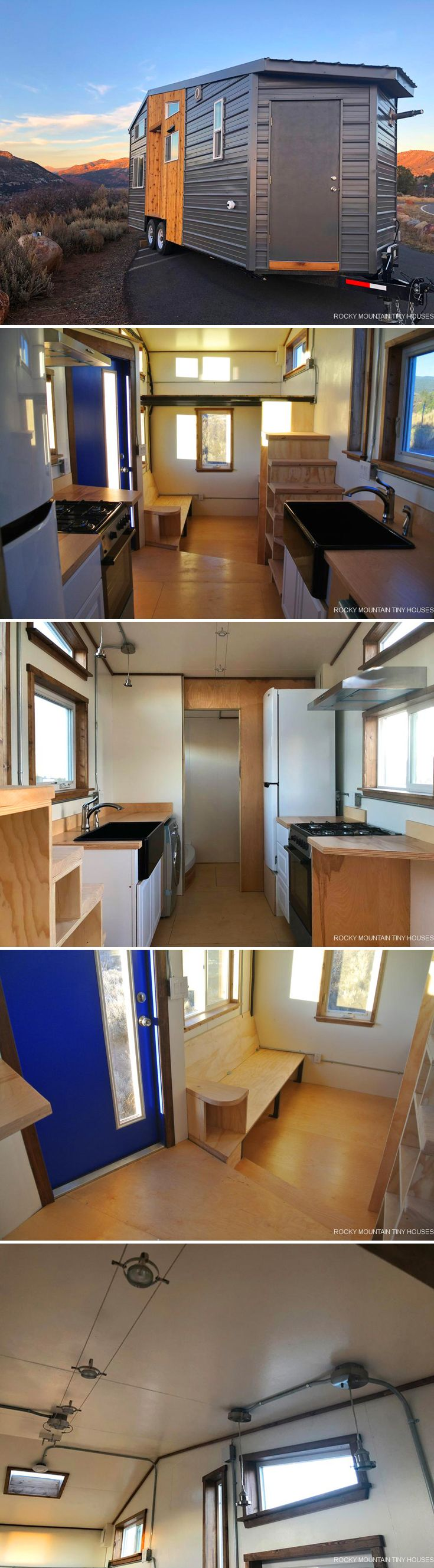 Built by Rocky Mountain Tiny Houses is this 24-foot industrial style tiny house, Wanderlust. The house was built for a military couple that wanted a home they could take with them wherever they get stationed.