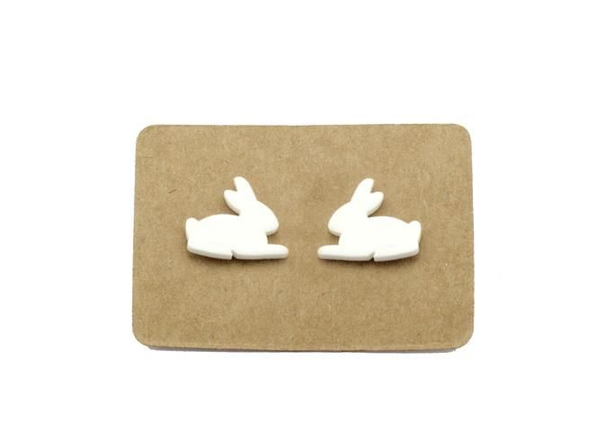 Handmade Ceramic White Bunny Rabbit Stud Earrings from Lululoft $18