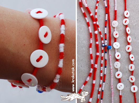 Мартеничка с копчетаButtons Kids, Crafts Ideas, Bracelets Мартеничка С Копчета, Buttons Martenitsa, Kids Crafts, Buttons Bracelets, Crafts Tutorials, Guide Ideas, Diy