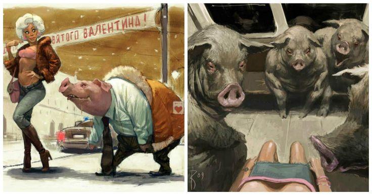 Estas ilustraciones del ilustrador ruso Waldemar von Kazak, son oscuras, crudas, controvertidas, pero sin duda alguna muy realistas.