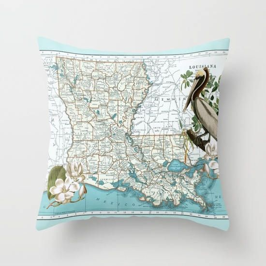 Louisiana Map Throw Pillow  Pelican and Magnolia  retro