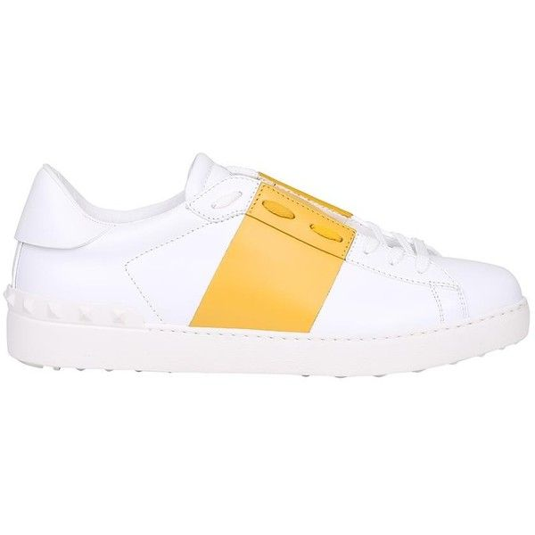 Valentino Garavani White and Yellow Open sneakers ($604) ❤ liked on Polyvore featuring men's fashion, men's shoes, men's sneakers, giallo, valentino mens shoes, mens white sneakers, mens summer shoes, mens leather sneakers and valentino mens sneakers