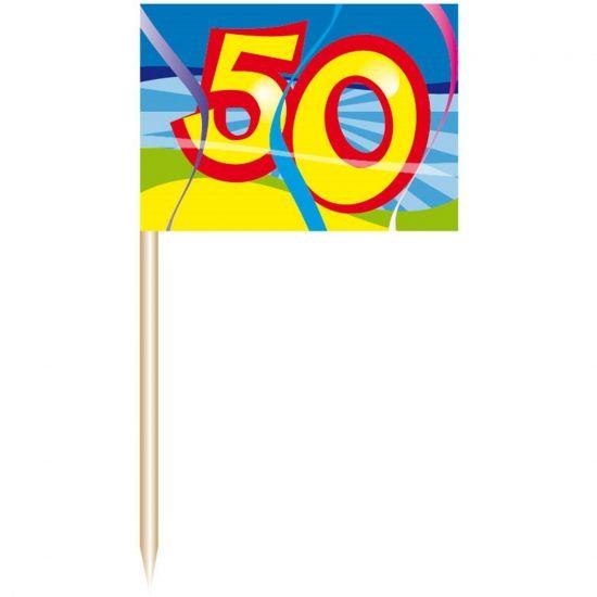 Cocktail prikkers 50 jaar. De cocktail prikkers zijn verpakt per 50 stuks. Deze cocktail prikkers 50 jaar zijn ongeveer 7 cm. Perfect als decoratie voor een 50 jarig verjaardags feestje of huwelijk.