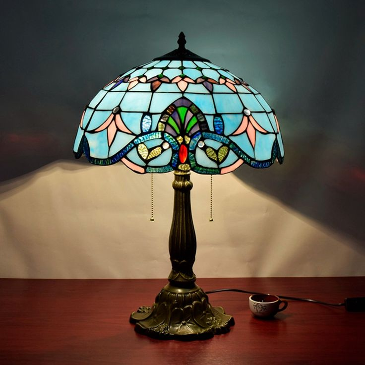 Retro Baroque Living Room Decorative Lamp American Mediterranean, Blue  Personalized Bedroom Stained Glass Eyeshield Desk Part 88