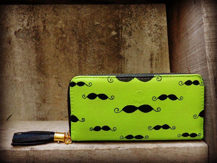 mustache neon wallet by www.zubiya.com