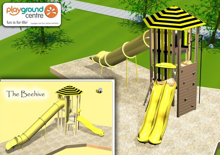This Bee Hive design is just one example of the customised theme designs we can incorporate into our modular playgrounds!  Compact hexagonal tower design, with platforms stepping up to the Mega Tube Slide!  Kids will be like bees around a honey pot on this one!! #PlaygroundCentre #PlaySpace #PlayGround #Fun #PlaygroundSlides #Slides #TheBeehive