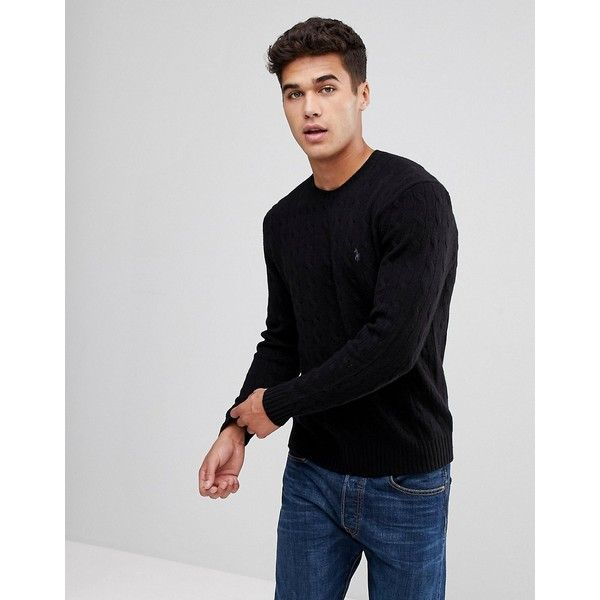 Polo Ralph Lauren Wool/Cashmere Mix Cable Jumper in Black (3.004.425 IDR) ❤ liked on Polyvore featuring men's fashion, men's clothing, men's sweaters, black, mens wool ties, mens cable sweater, mens wool sweaters, mens woolen sweaters and mens sweaters