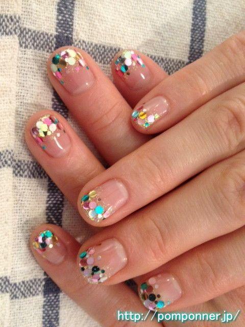 Nail was laid chock a hologram colorful fingertips     #nail