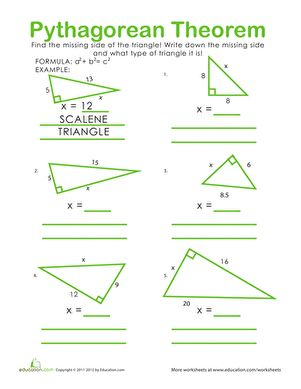 Get a grip on geometry with a Pythagorean Theorem practice sheet! Review knowledge of different types of triangles, and practice using this important formula.