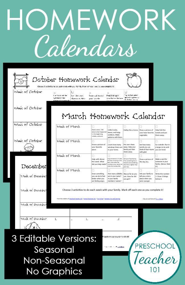Kindergarten Holiday Calendar : Ideas about homework calendar on pinterest