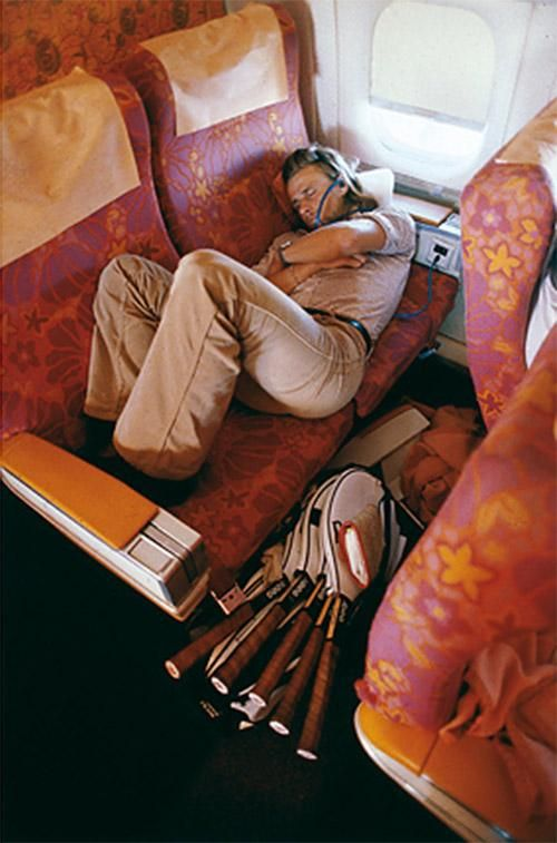 Bjorn Borg napping ~ 1978. The constant traveling probably led to burn out.