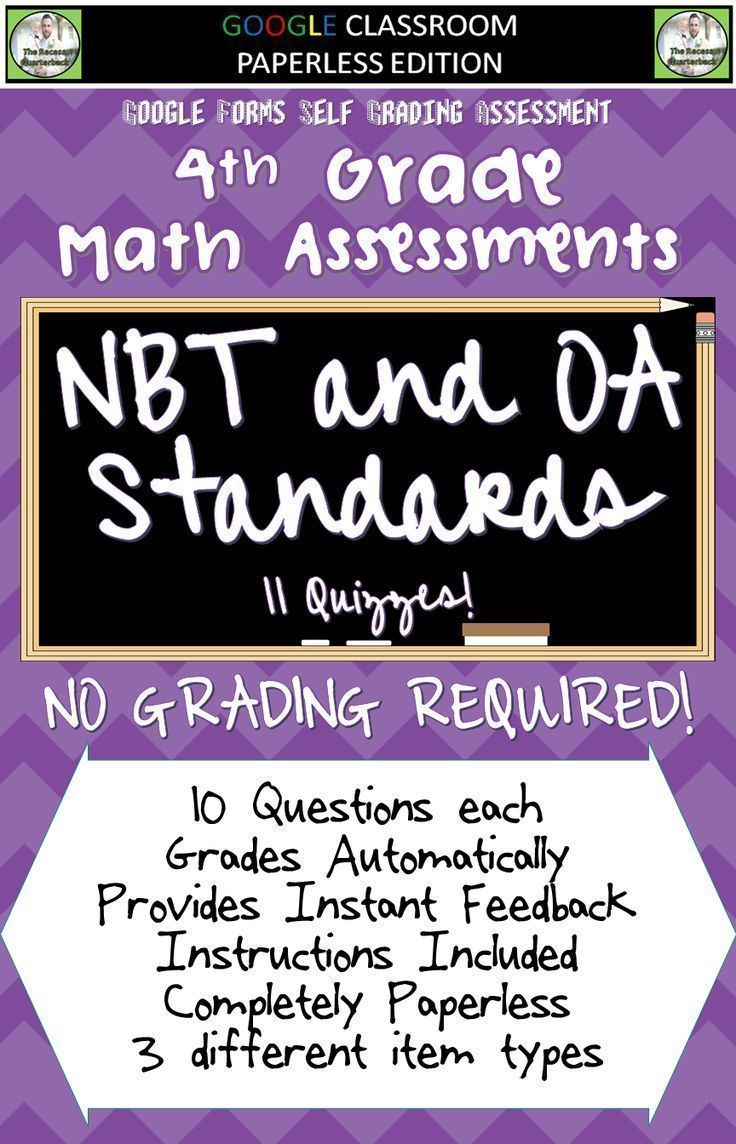 STANDARDS BASED ASSESSMENTS - THAT GRADE THEMSELVES!    This product contains a PDF file that will provide instructions and links to 11 Math Quizzes to be used with the 4th Grade NBT and OA Standards.     DOWNLOAD THE PREVIEW TO TRY ONE OF THE QUIZZES FOR