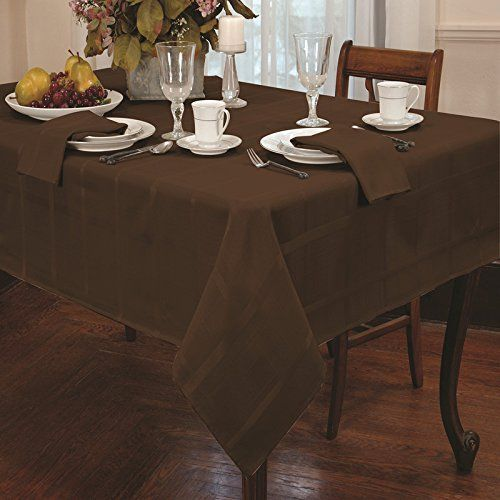 Eforcurtain Contemporary Plaid Rectangular Tablecloth Polyester Table Cover 60inch By 102inch, Chestnut