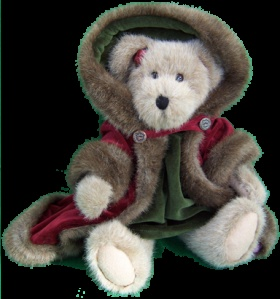 Boyd's Bears--I have this one with brown fur.  Her name is Mrs. Baybeary, and I also have Mr. Baybeary.  They're very cute.