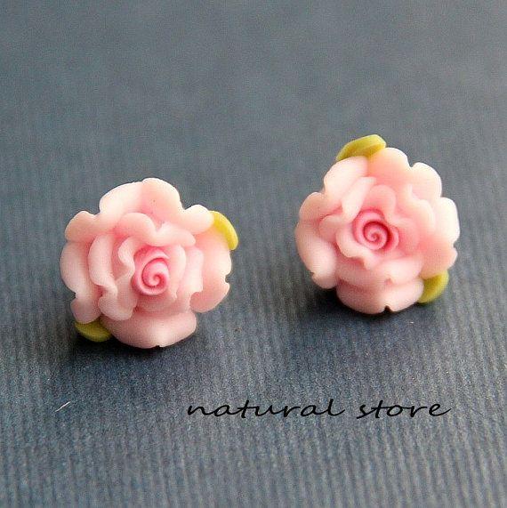 Pendientes de arcilla Rosa romántico Rosa pendientes-polímero