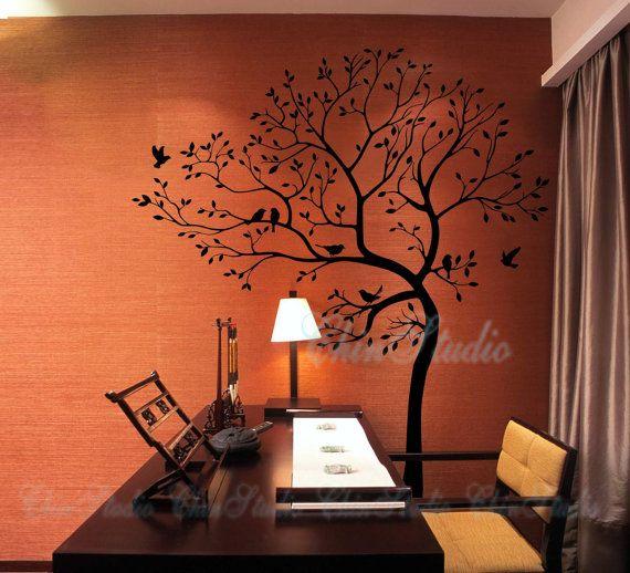 Árbol calcomanías de pared pegatinas-comedor pared calcomanías-Lucky árbol con pájaros pared calcomanía décor casero