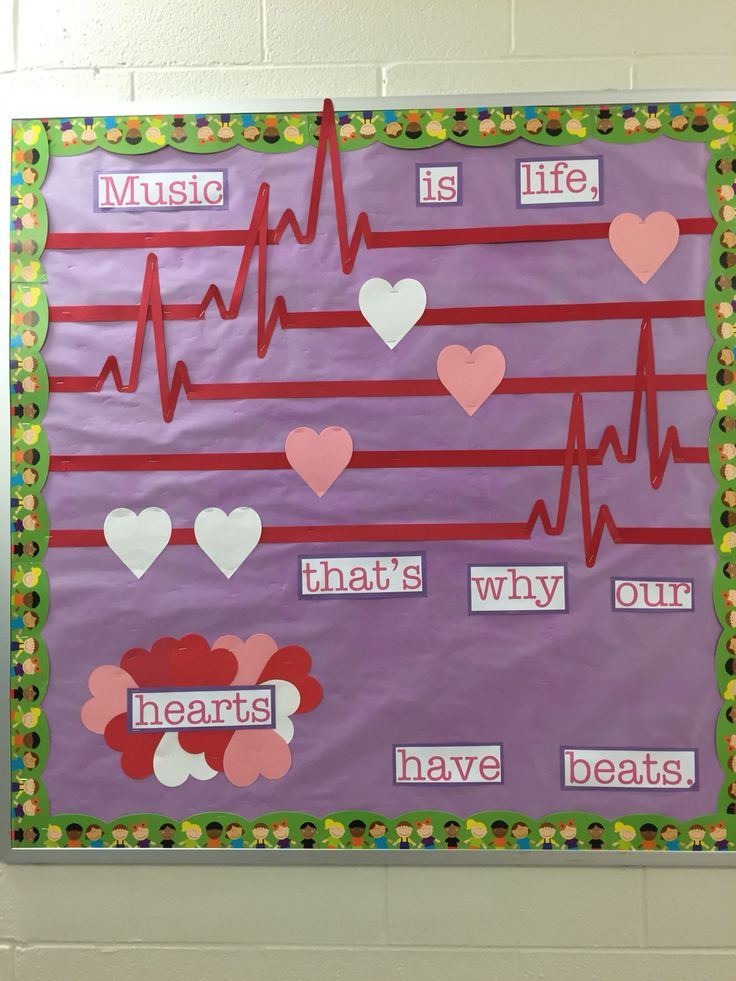 """""""Music is life, that's why our hearts have beats."""" Valentine's music bulletin board"""