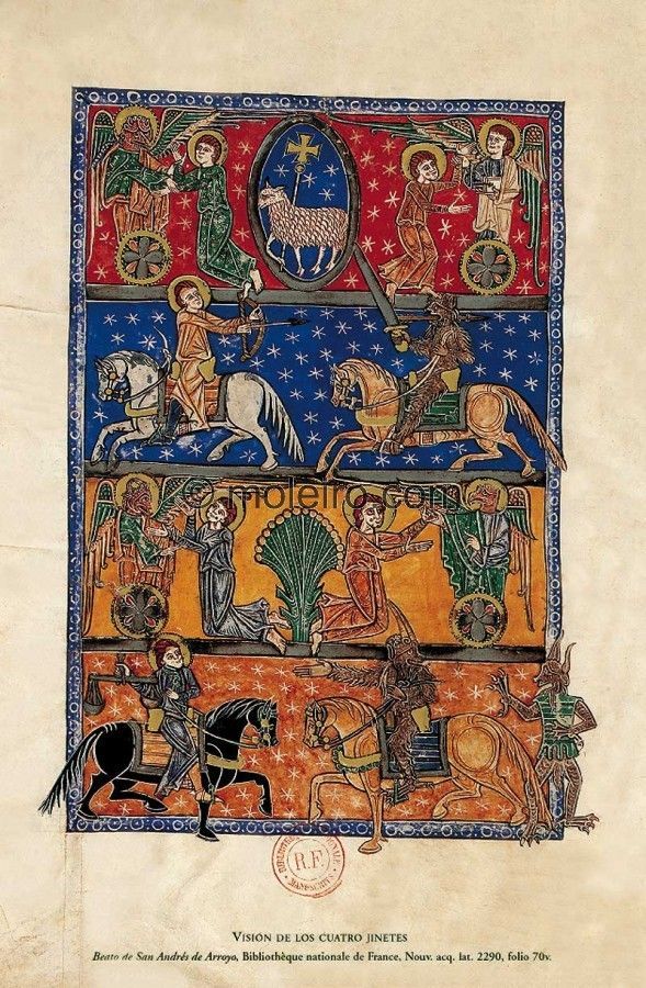 Vision of the Four Horsemen of the Apocalypse -- Illuminated manuscripts. Liébana Beatus. Manuscritos iluminados. f. 70v, Beatus of Arroyo