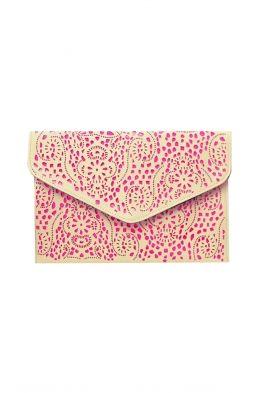 b8a590afebb ... Handbag Estella Beige Neon Pink Cutout Clutch The Collection Metallic  leather shopper bag- at Debenhams.com ...