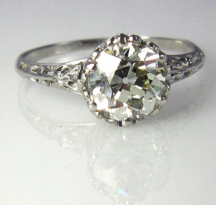 antique 1900s 14ct old european round vintage estate solitaire diamond wedding engagement ring platinum - Wedding Rings Vintage