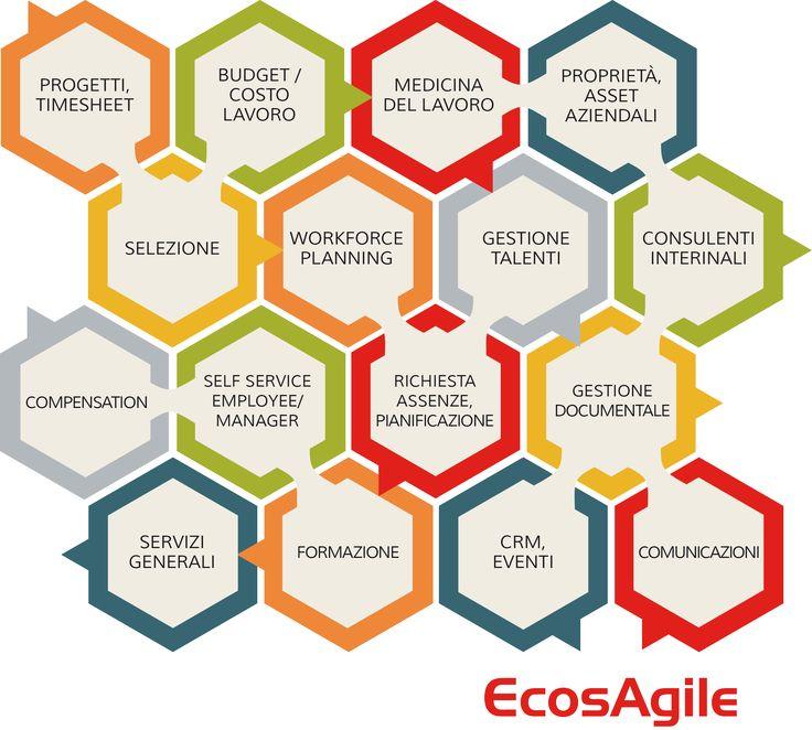 EcosAgile dispone di una ampia copertura funzionale, che ne rappresenta uno dei suoi punti di forza. Le funzionalità pre-configurate sono già predisposte per un utilizzo immediato e salvaguardano sempre la possibilità da parte del Cliente di operare personalizzazioni ed adattamenti che vengono, su questa piattaforma, nativamente conservati a fronte degli upgrade di release.