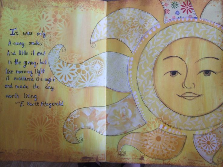 Art Journal page sunshine and positive attitudes (quote from F. Scott Fitzgerald) by Rachel Patten