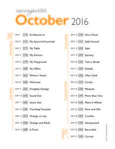 October 2016 CY365 Photo Challenge List