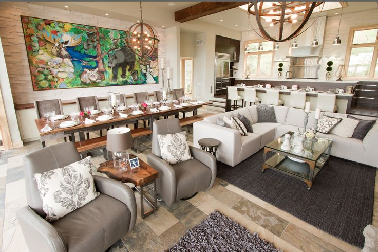 Whether you are in the kitchen, living room or dining room, you will always be part of the conversation in this stunning open space. #bryanbaeumler #sarahbeaumler #HOB2 #houseofbryan2 #baeumler