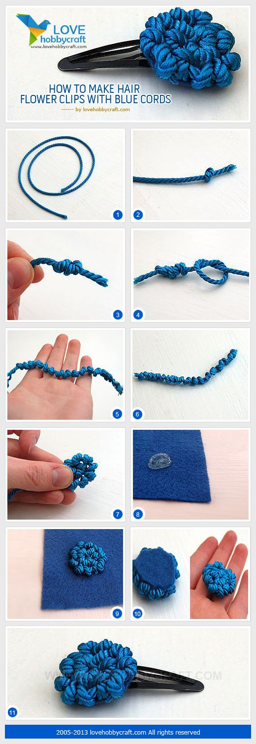 Cómo hacer horquillas para el pelo con flor, con cordón azul   -   How to make hair flower clips with blue cords