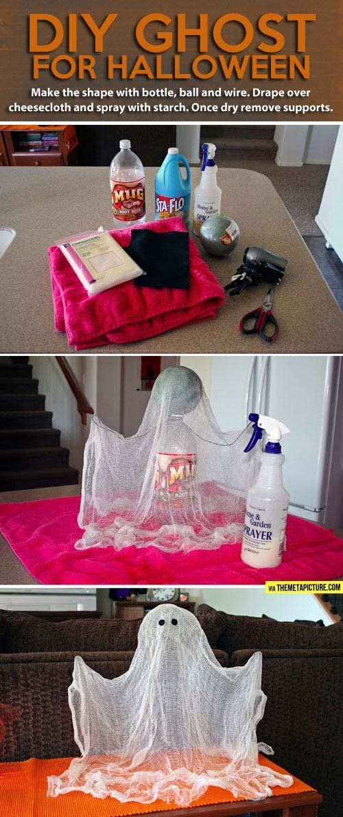 DIY Halloween ghost // Make the shape with bottle, ball and wire. Drape over cheesecloth and spray with starch. Once dry, remove supports.
