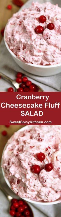 This salad is a perfect dessert for Thanksgiving Dinner or New Year's Eve feast. Cranberry Cheesecake Fluff Salad is quick, simple and easy to prepare.