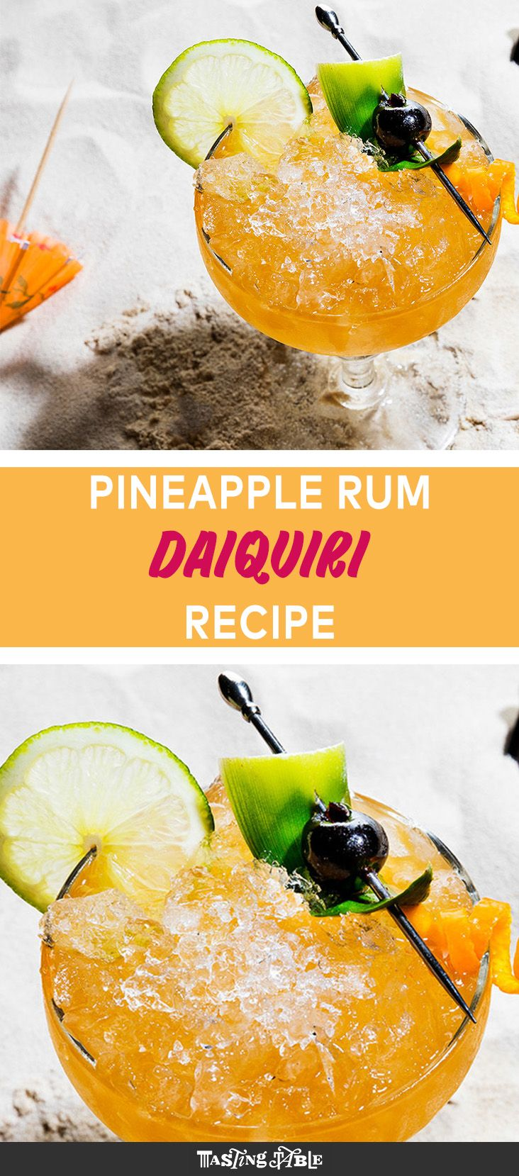 Shake tropical pineapple rum with fresh squeezed lime juice, simple syrup and maraschino cherry liqueur for a fruity spin on the classic daiquiri.
